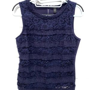 J. Crew fringy tank top in tweed and lace.